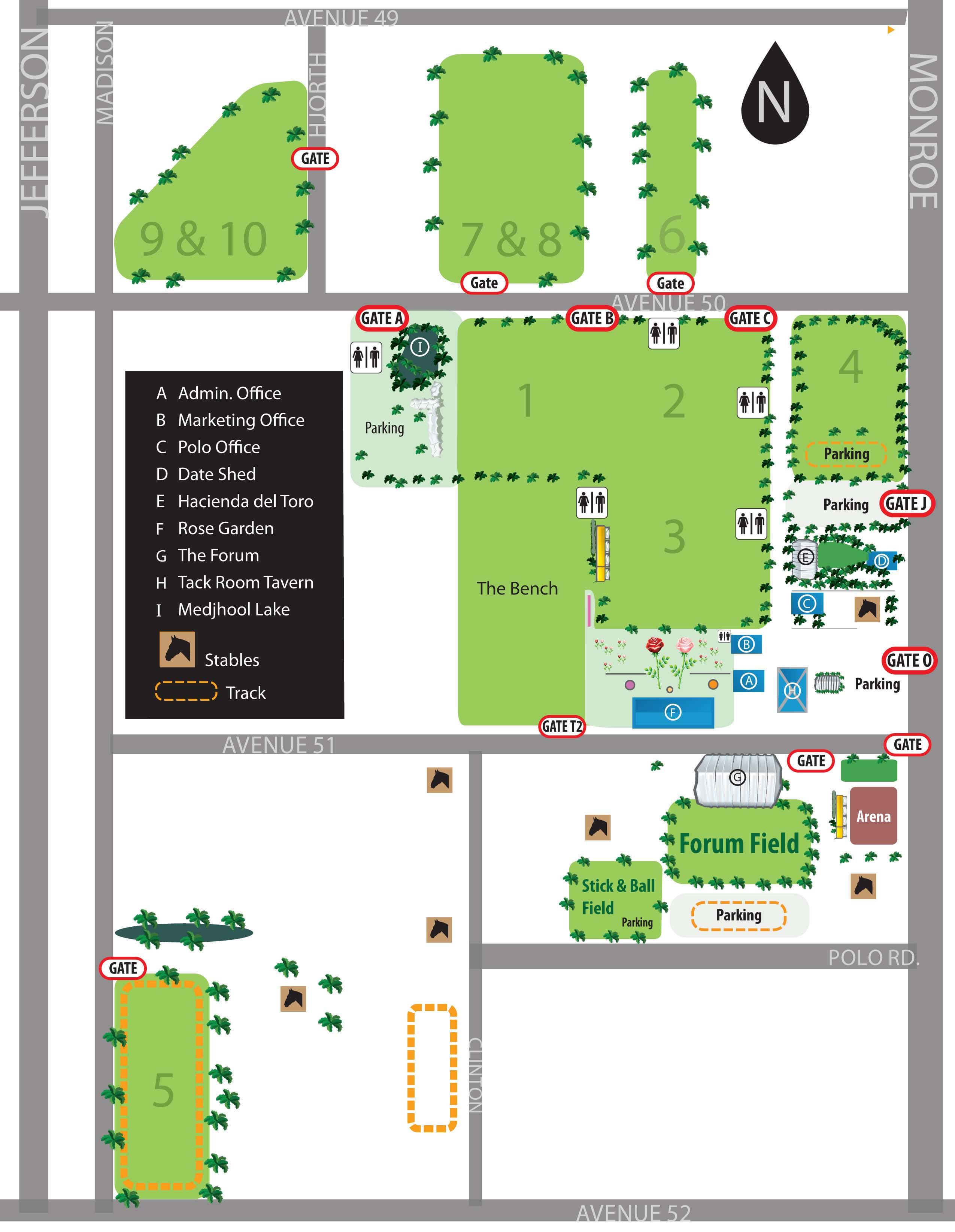 Field Locations Map - Empire Polo Club