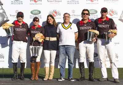 Trinity won the 8-Goal Emerald Cup Finals. Mariano Gutierrez, Abby Riggs, Rick Paicius and Tim Rudy.