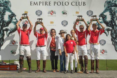 4-Goal Rose Cup Final Winner - Empire Polo Team: Erik Wright, Lolo Payan, Hayward Pardue and Aly Payan. The trophies were presented by representatives from Westin Mission Hills.