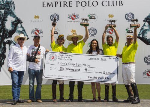 Evergreen won the 4-Goal Lions Cup Finals, $6,000 and Rich Roenisch Bronzes.  From left to right:  Mr. Haagen, Bryan Middleton, Juan Jo Gonzalez, Peter Blake, Bianca Nolasco, Noah Sprung and Tom Sprung.
