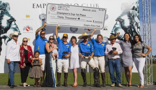 M3 Strolling Wild won the 6-8 Goal Champions Cup Final,  $30,000 and Rich Roenisch bronzes.  From left to right: Mr. & Mrs. Haagen, Kimo Huddleson, Danielle Sheldon, Jared Sheldon, Lyn Jason Cobb, Peter Blake, Madelyn Cobb, Corky Linfoot, Bianca Nolasco and Adriana Navarro.