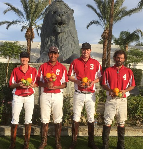 Hanalei Bay won the 4-Goal Desert Challenge at Empire Polo Club on Dec. 6th, 2015.  From left to right: Krista Bonaguidi, Alonso Andrade, Ashton Wolf, Diego Cossio