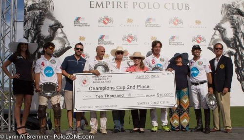 Lauburu Polo Team won 2nd Place and $10,000 in the USPA 6-8 Goal Champions Cup. From left to right: Doug Blumenthal, Rodrigo Salinas, Francisco Guinazu and Eduardo Perez.