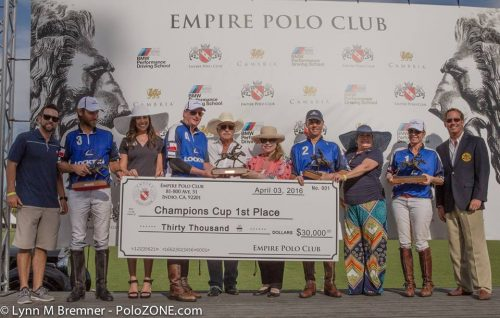 Lockton Polo Team won the USPA 6-8 Goal Champions Cup and $30,000. From left to right: Max Manini, Tim Kelly, Bryan Middleton and Jessica Bailey.
