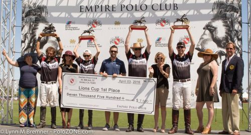 Will Rogers/Casa Sombras won the USPA 4-Goal Lions Cup Finals and $7500. From left to right: Diego Cossio, Bayne Bossom, Bolko Kissling, Conrad Kissling.